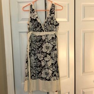 Lack and white dress with empire waist tie